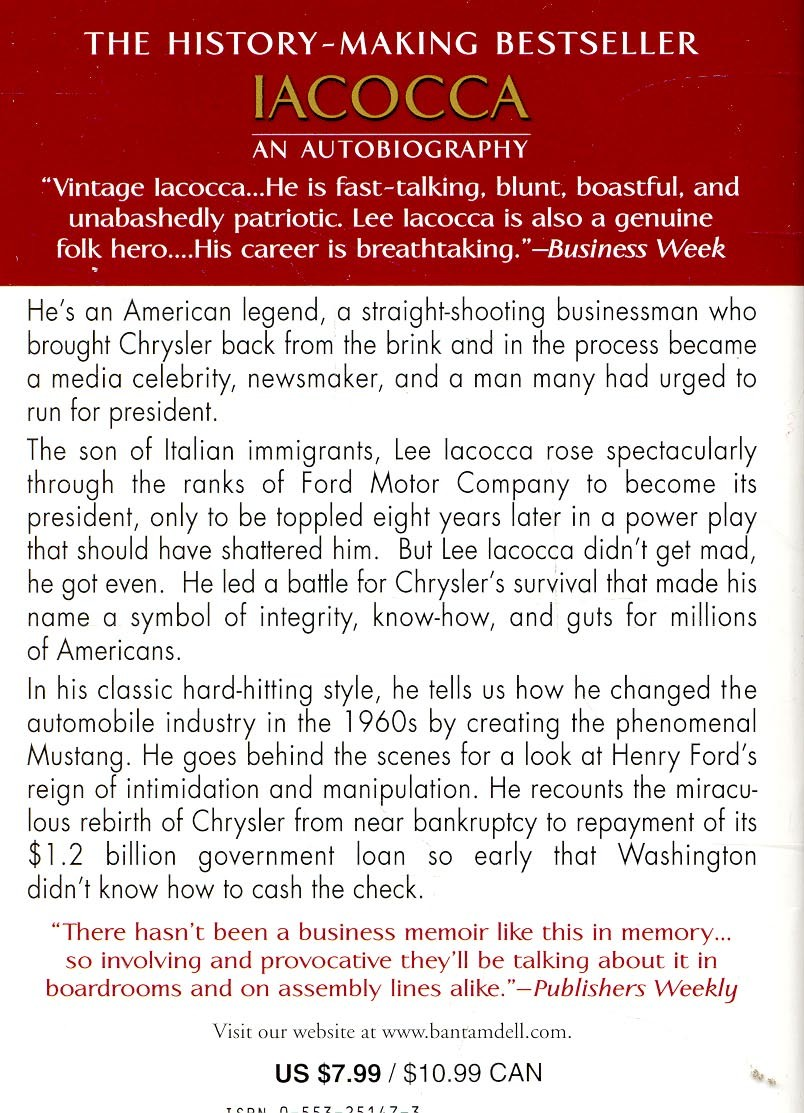 book review on iacocca an autobiography The concepts are not completely sound, but the book is an excellent autobiography on lee iacocca flag 1 like like see review nov 15, 2017 gautham vasan rated it liked it.